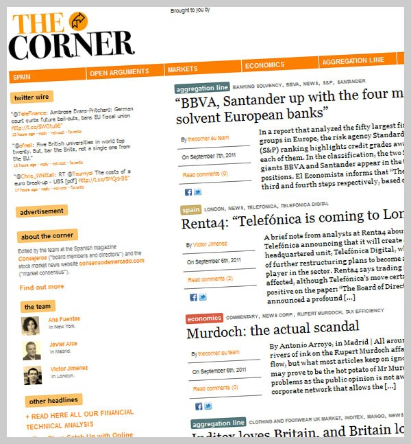 The Corner.eu website