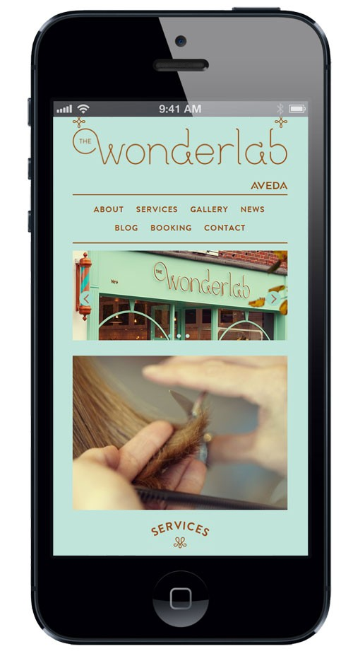 The Wonderlabs responsive website on an iPhone