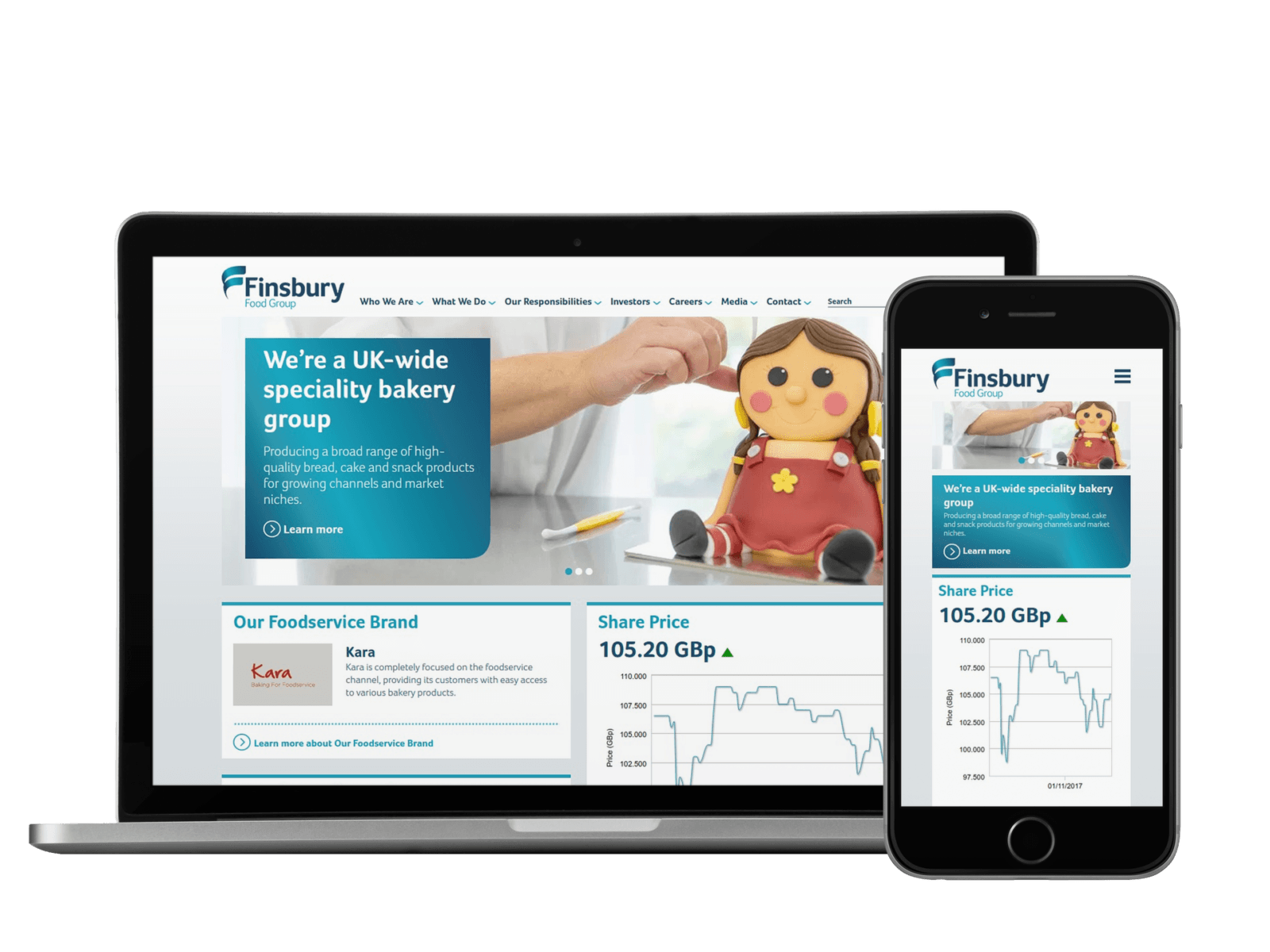 Finsbury Foods - UX/UI, HTML Email, WordPress, Creative